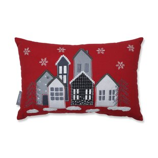 Festive Village Cotton Lumbar Pillow