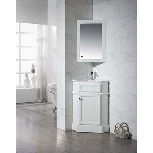 corner bathroom vanity with sink. Rocher 26 5  Single Corner Bathroom Vanity Set with Mirror Vanities You ll Love Wayfair