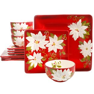 Cushman Pleasant Poinsettia 12 Piece Dinnerware Set, Service for 4