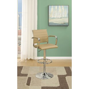 Lupo Gas Lift Faux Leather Adjustable Height Bar Stool (Set of 2) Latitude Run