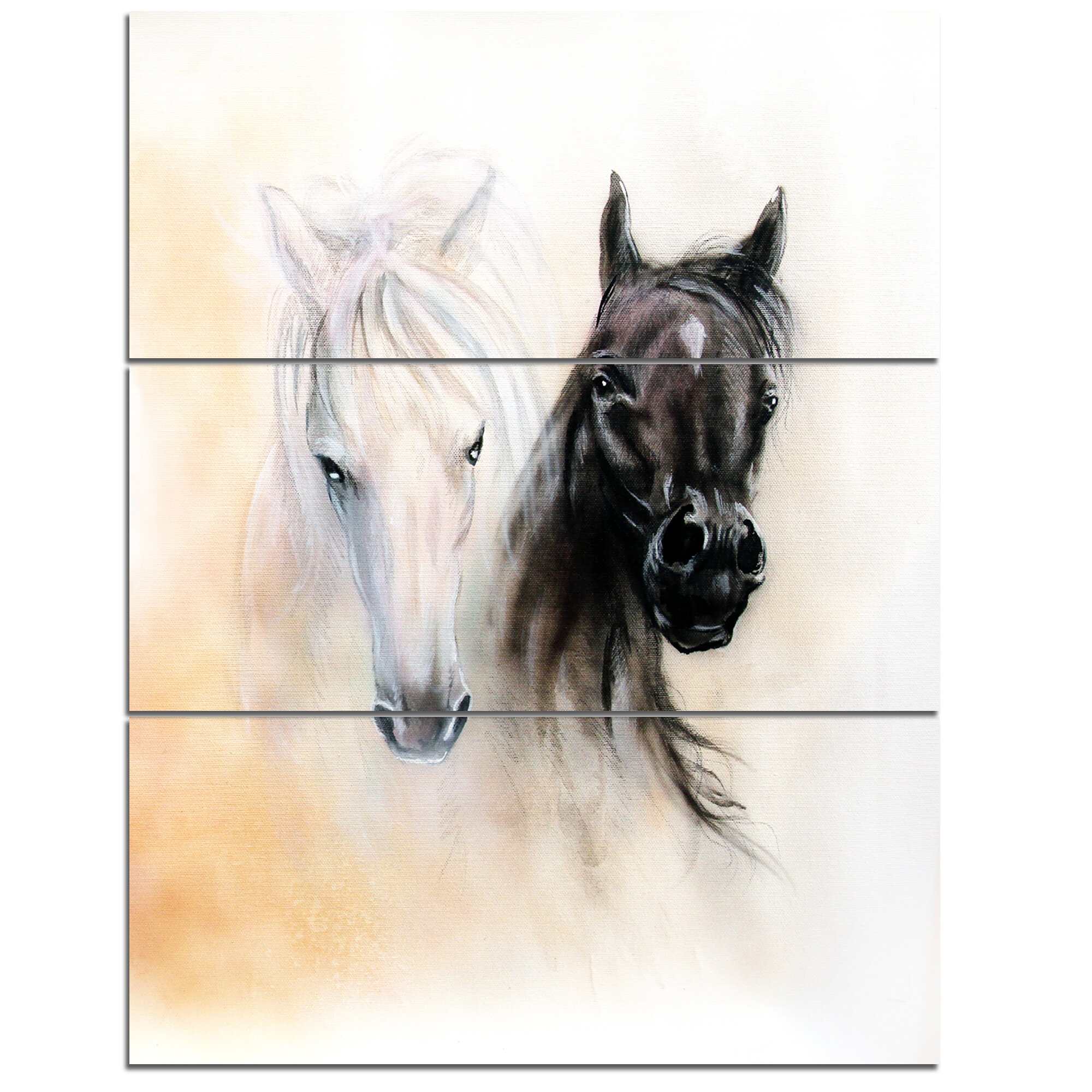 Designart Black And White Horse Heads 3 Piece Painting Print On Wrapped Canvas Set