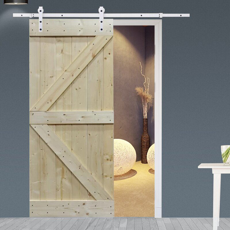 Calhome Solid Wood Room Divider Pine Interior Barn Door with