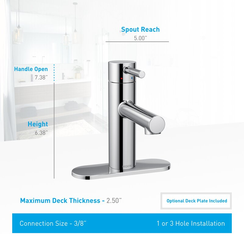 Bathroom Faucet Sizes moen align single handle single hole bathroom faucet with drain