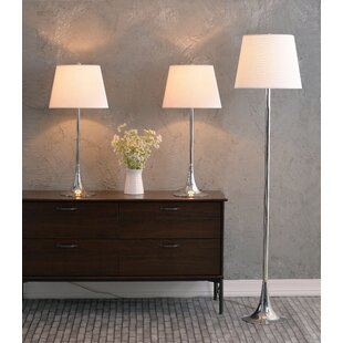 Orren Ellis Nunan 3 Piece Table and Floor Lamp Set