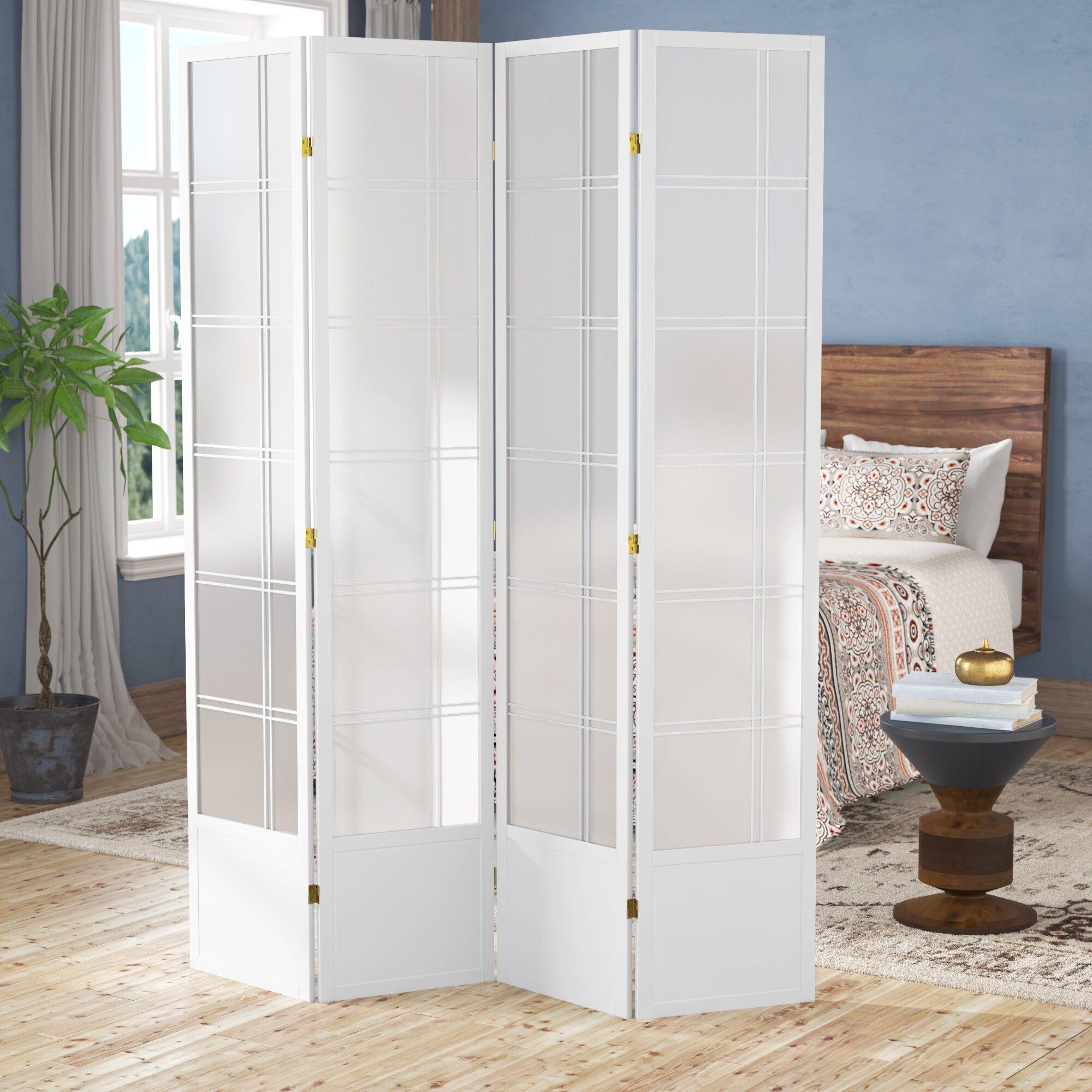 Winston Porter Keitez Solid Wood Folding Room Divider Reviews Wayfair
