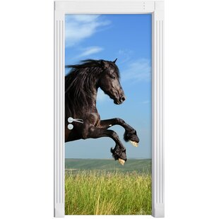 Black Stallion In A Green Meadow Door Sticker By East Urban Home