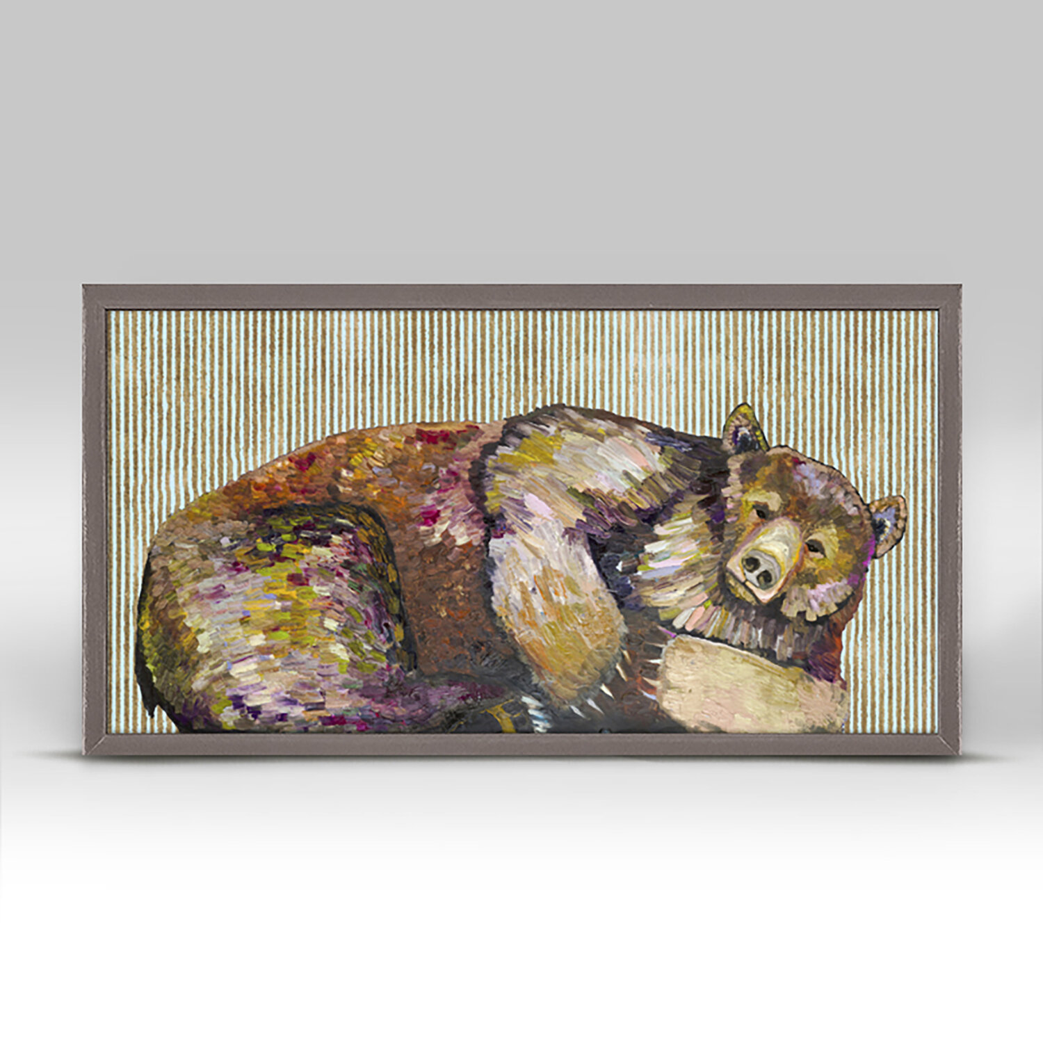 Greenbox Art Grizzly Bear Dreams With Gold Stripes Picture Frame Print On Canvas Wayfair