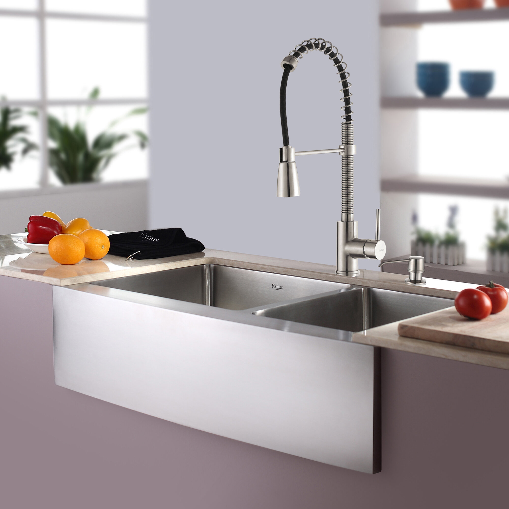Khf203 33 Kpf1612 Ksd30ss Kitchen Combos L X 21 W Double Basin Farmhouse A Sink With Faucet