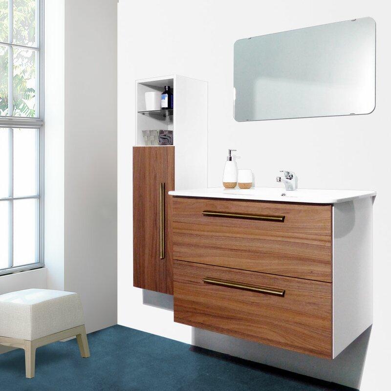 "Auten Modern 32"" Wall-Mounted Single Bathroom Vanity Set"