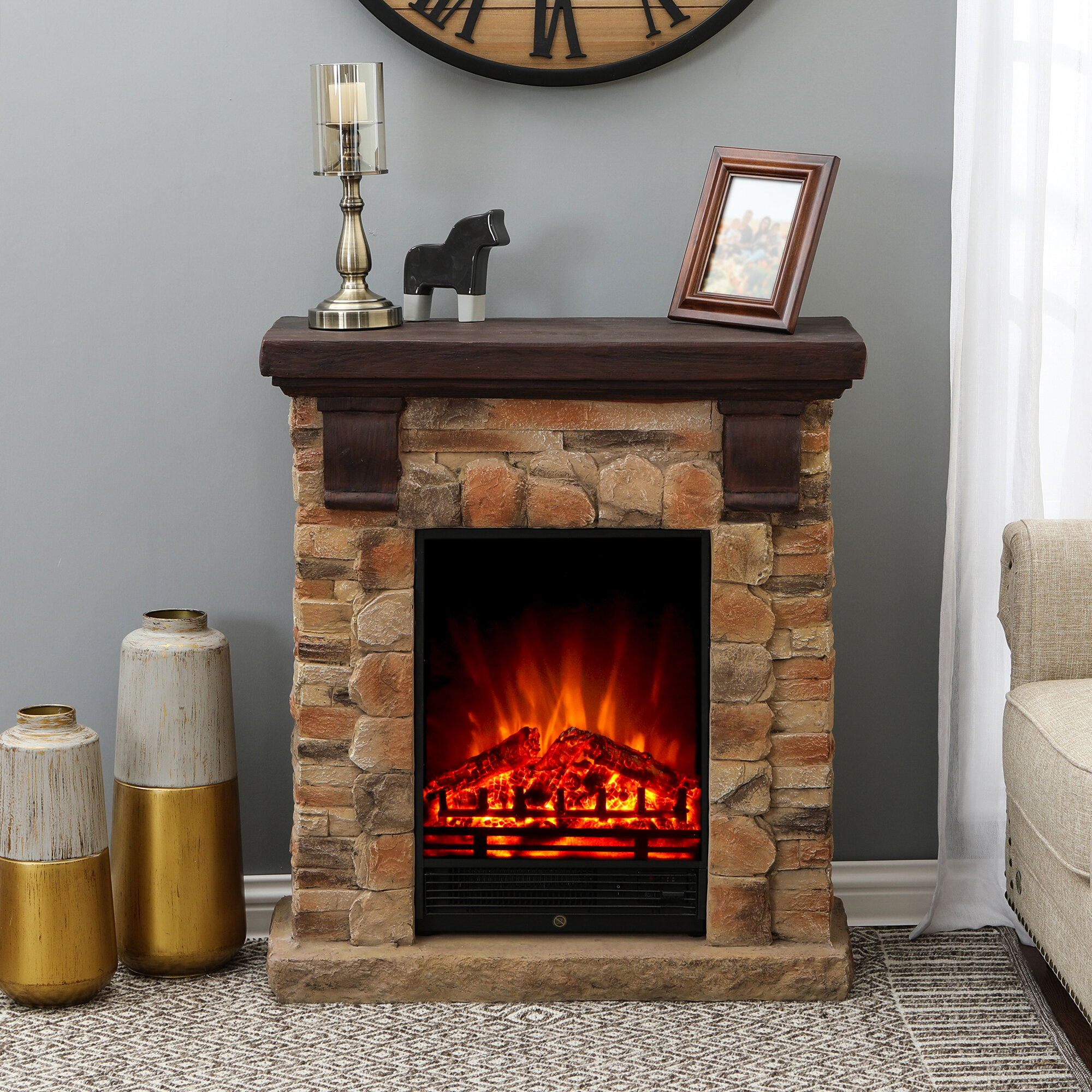 Loon Peak Mounce Electric Fireplace Reviews Wayfair