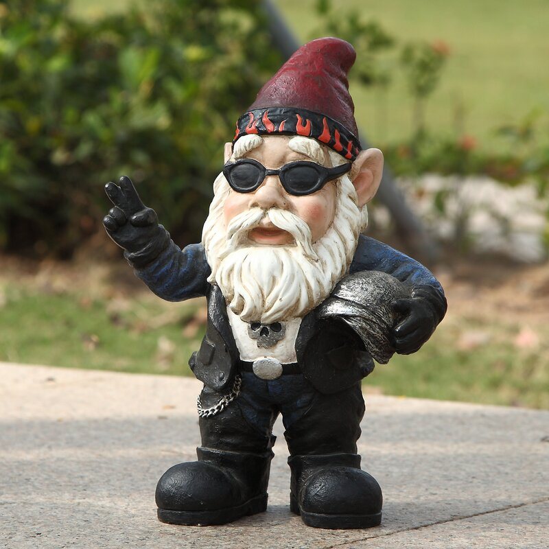 Lovely Biker Gnome Statue