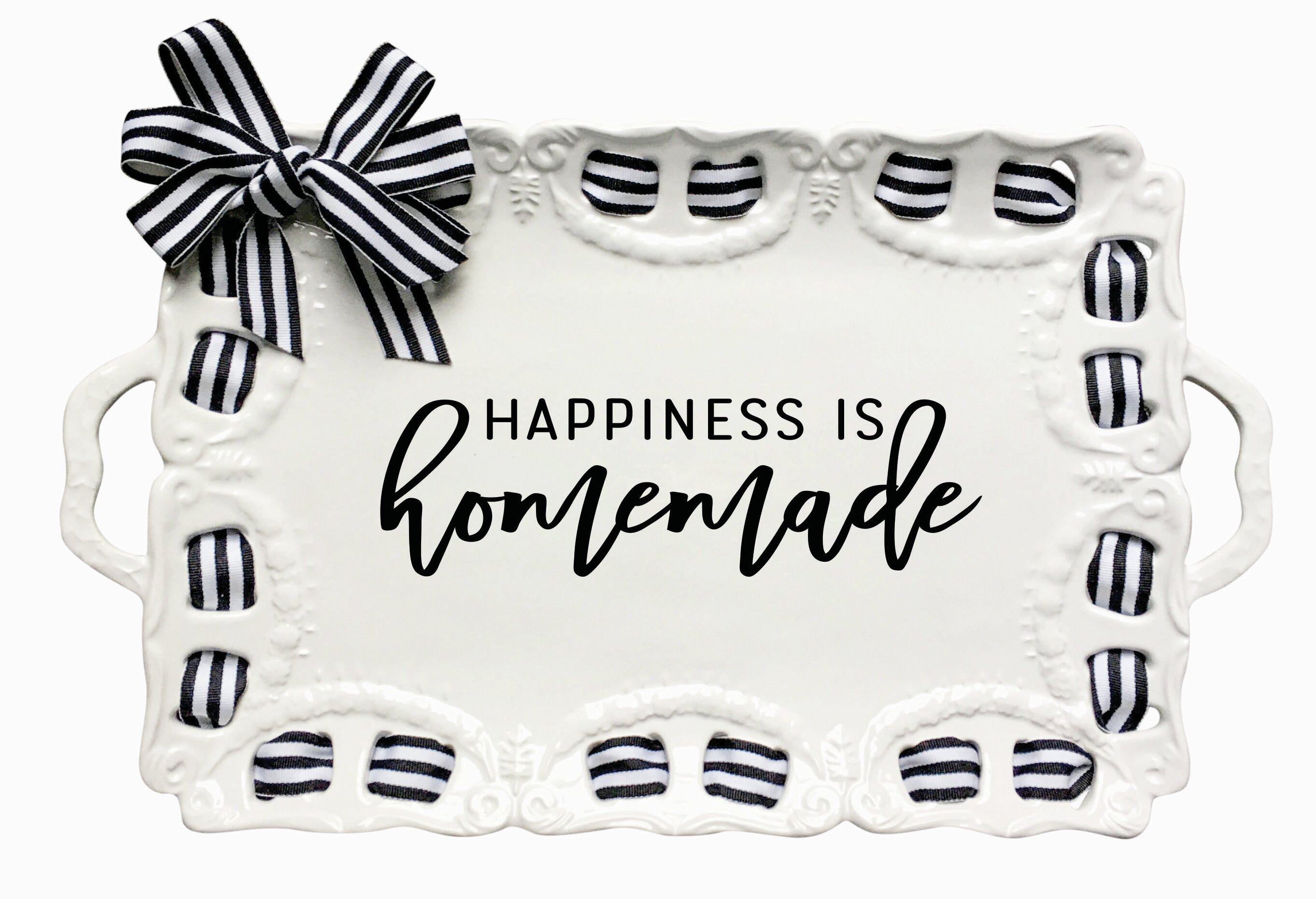 picture relating to Happiness is Homemade identified as Hayfield Contentment is Selfmade Ribbon Serving Tray