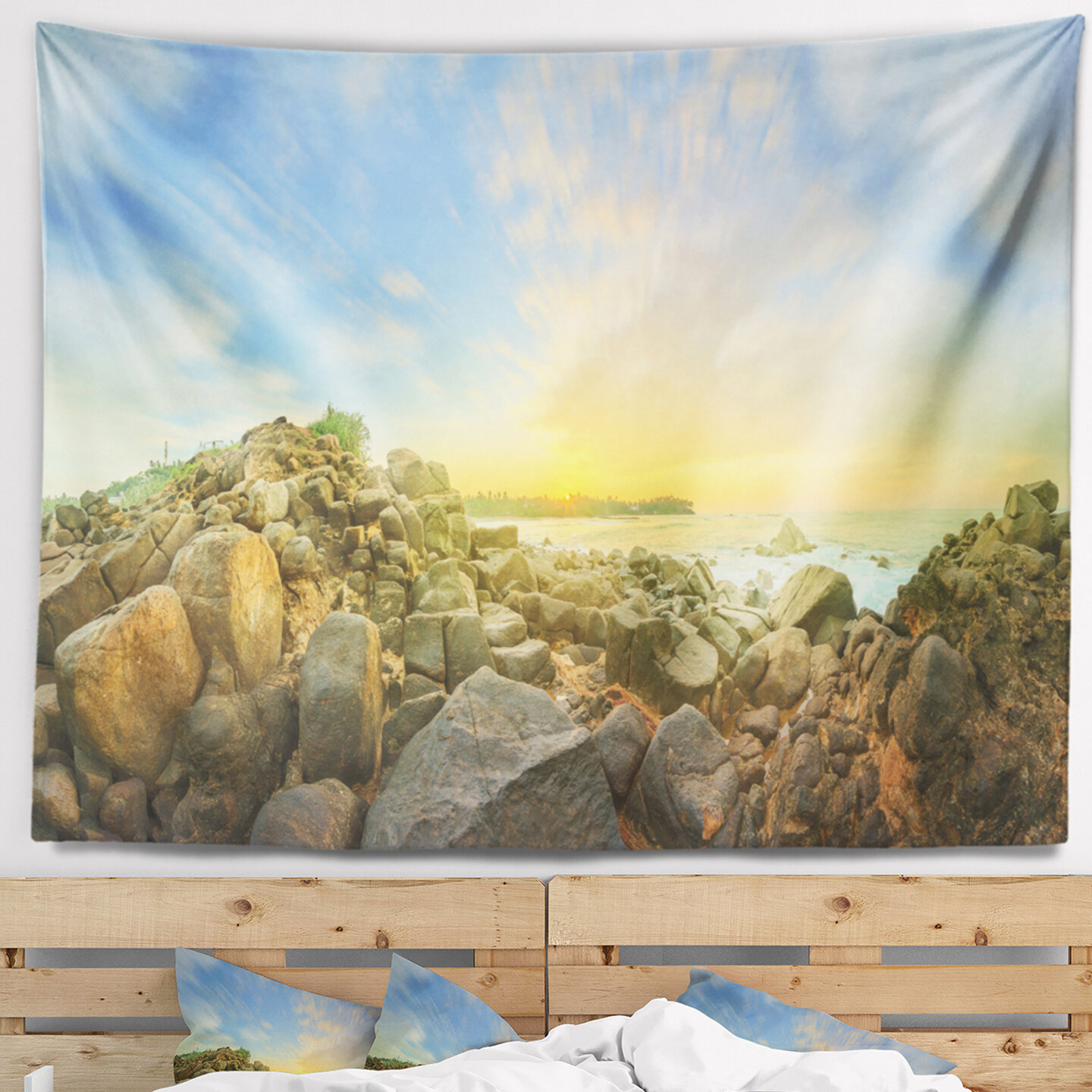 East Urban Home Landscape Beautiful Romantic Beach Sunrise Tapestry ...