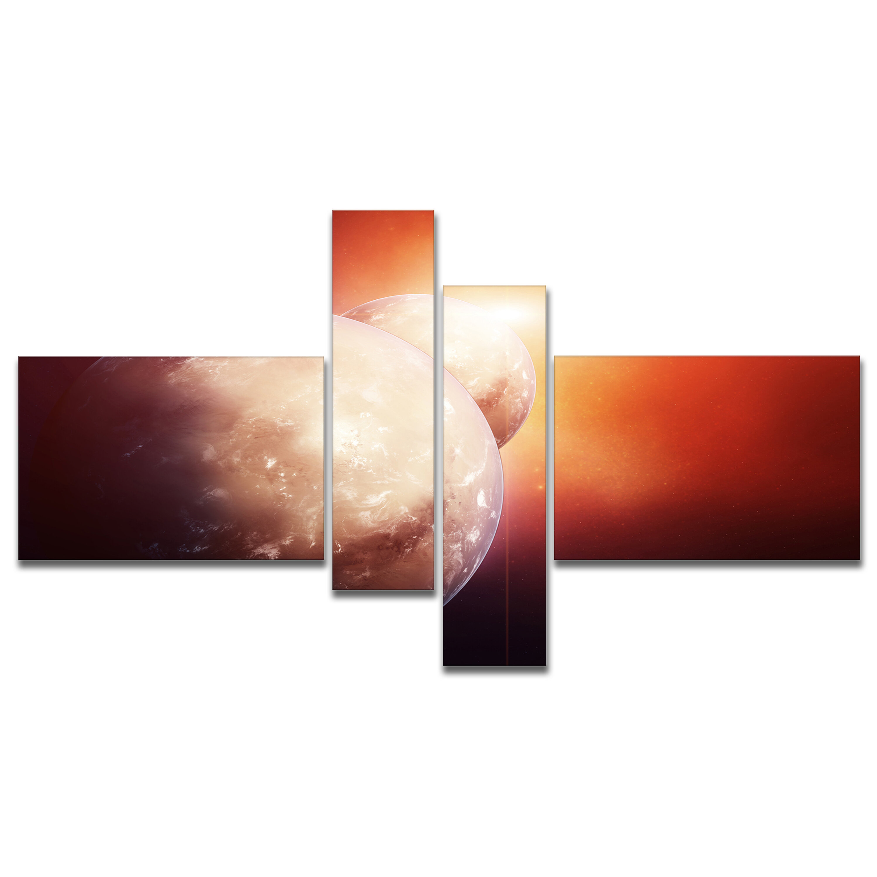 East Urban Home Planets With Rising Star Graphic Art Print Multi Piece Image On Canvas Wayfair