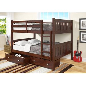 Full over Full Bunk Bed with Storage b..