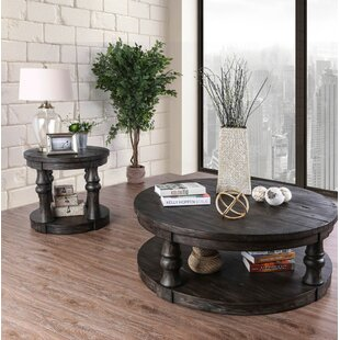 Gracie Oaks Amstel Farmhouse 2 Piece Coffee Table Set