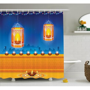 Parramatta Diwali Religious Celebration of India With Lights Candles and Night Scenery Print Single Shower Curtain