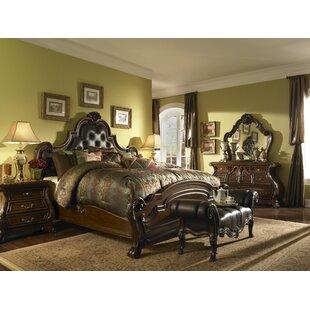 Michael Amini Palace Gates Tufted Leather Mansion Platform Configurable Bedroom Set