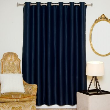"Solid Blackout Thermal Grommet Single Curtain Panel Blackout Curtain Size per Panel: 100"" W x 96"" L, Color: Navy"