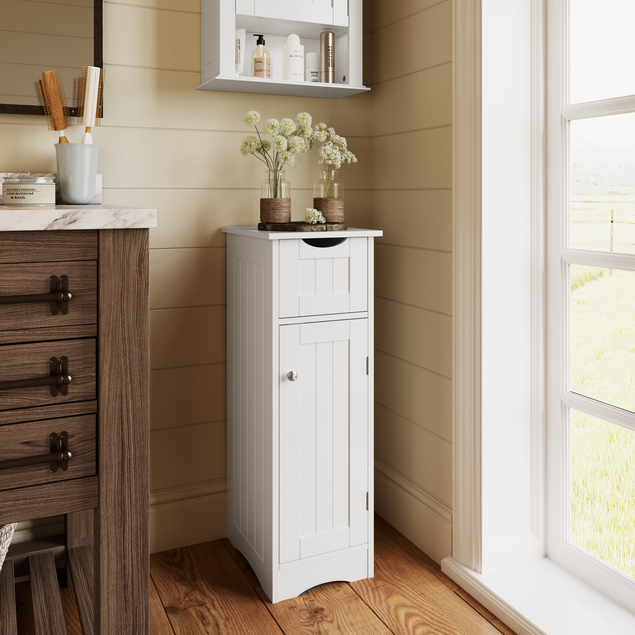 Picture of: Dovecove Ashland 13 5 W X 32 H X 11 D Free Standing Bathroom Cabinet Wayfair