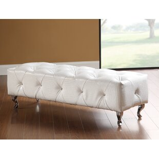 Attie Crocodile Faux Leather Bench