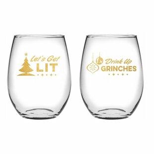 Holiday Spirits 2-Piece Stemless Wine Glass Set
