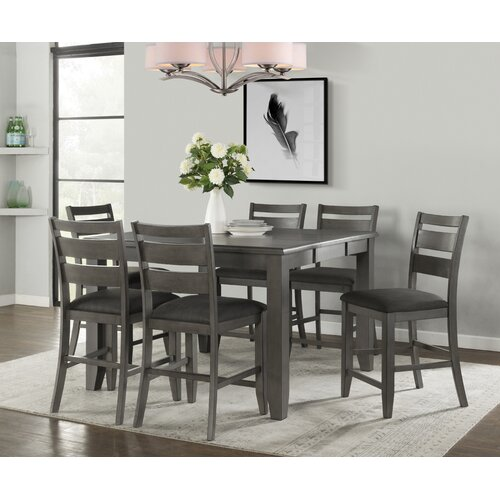 Winston Porter Batista 7 Piece Solid Wood Dining Set Wayfair Ca