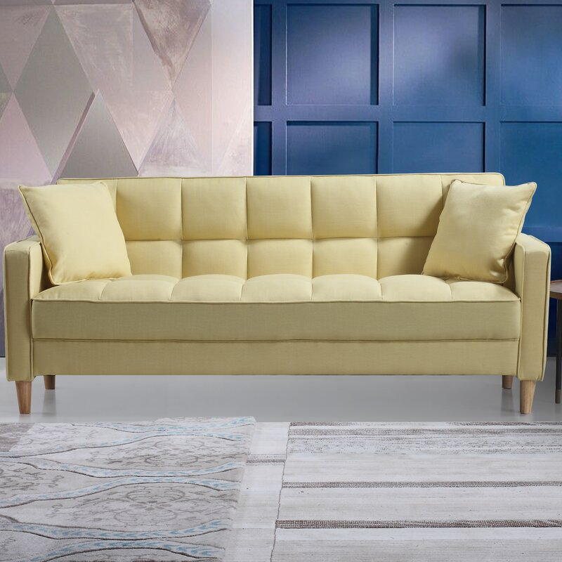 Modern linen fabric tufted small space sofa reviews for Small tufted sofa