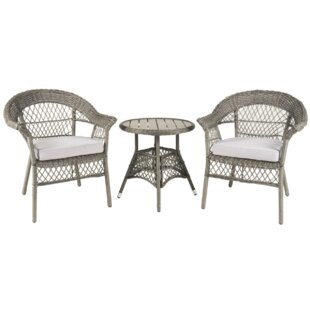 Highland Dunes Yunpeng 3 Piece Bistro Set with Cushions