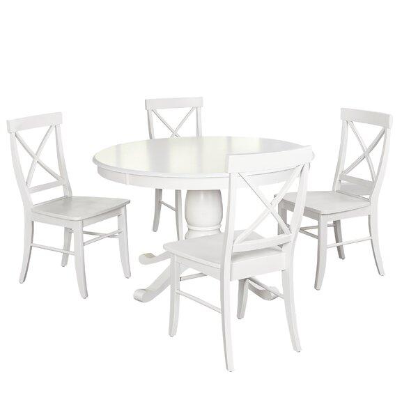 Beachcrest Home Stock Island 5 Piece Pedestal Dining Set U0026 Reviews | Wayfair