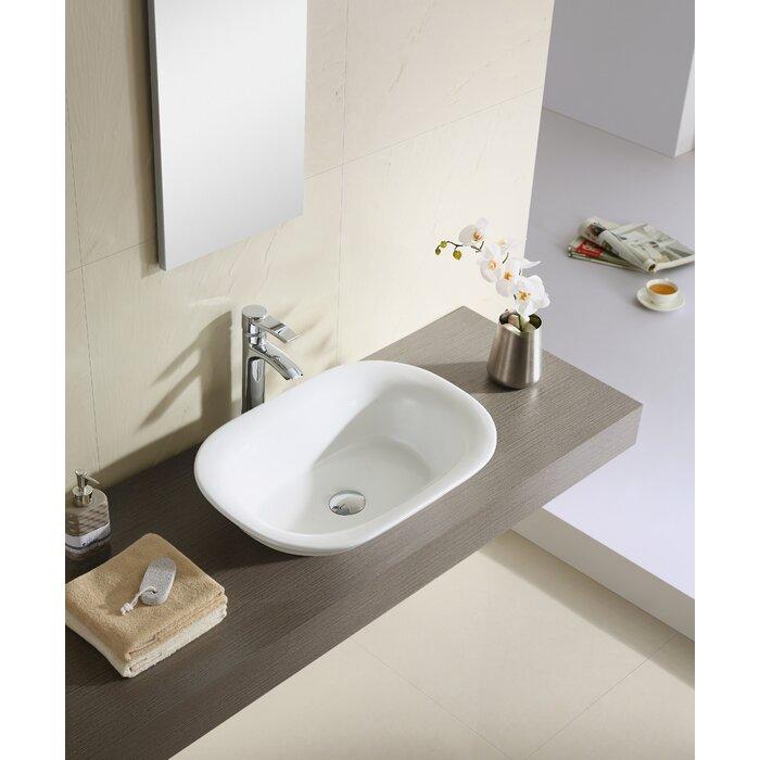 Lavabo de salle de bain rectangulaire en céramique pour bateau