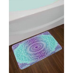 Mandala Abstract Eastern Religious Art Cosmos Theme Sign Design Print Non-Slip Plush Bath Rug ByEast Urban Home
