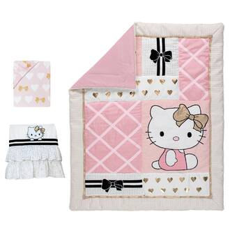new york b12c9 462d7 Hello Kitty 3 Piece Crib Bedding Set