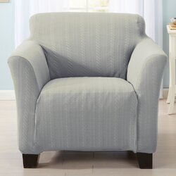 Shop This CollectionHome Fashion Designs Darla Cable Knit Armchair Slipcover   Reviews  . Gray Armchair Slipcover. Home Design Ideas