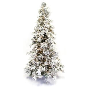 flocked long needle prelit 75 green pine tree artificial christmas tree with 500 clear ul lights