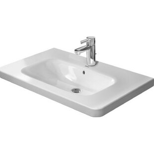 Check Prices DuraStyle Ceramic 32 Wall Mount Bathroom Sink with Overflow By Duravit