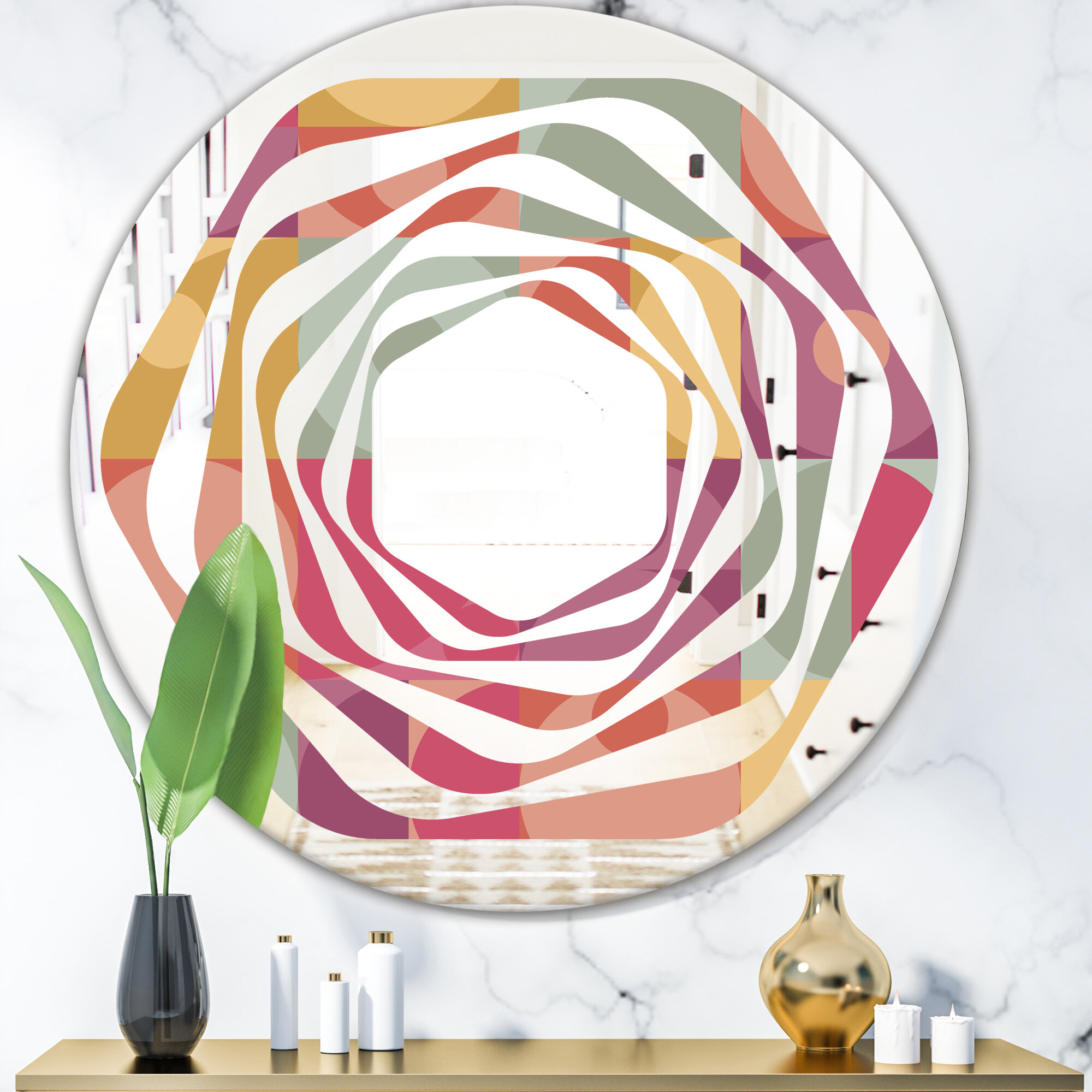 East Urban Home Whirl Geometric Minimal I Modern Contemporary Frameless Wall Mirror