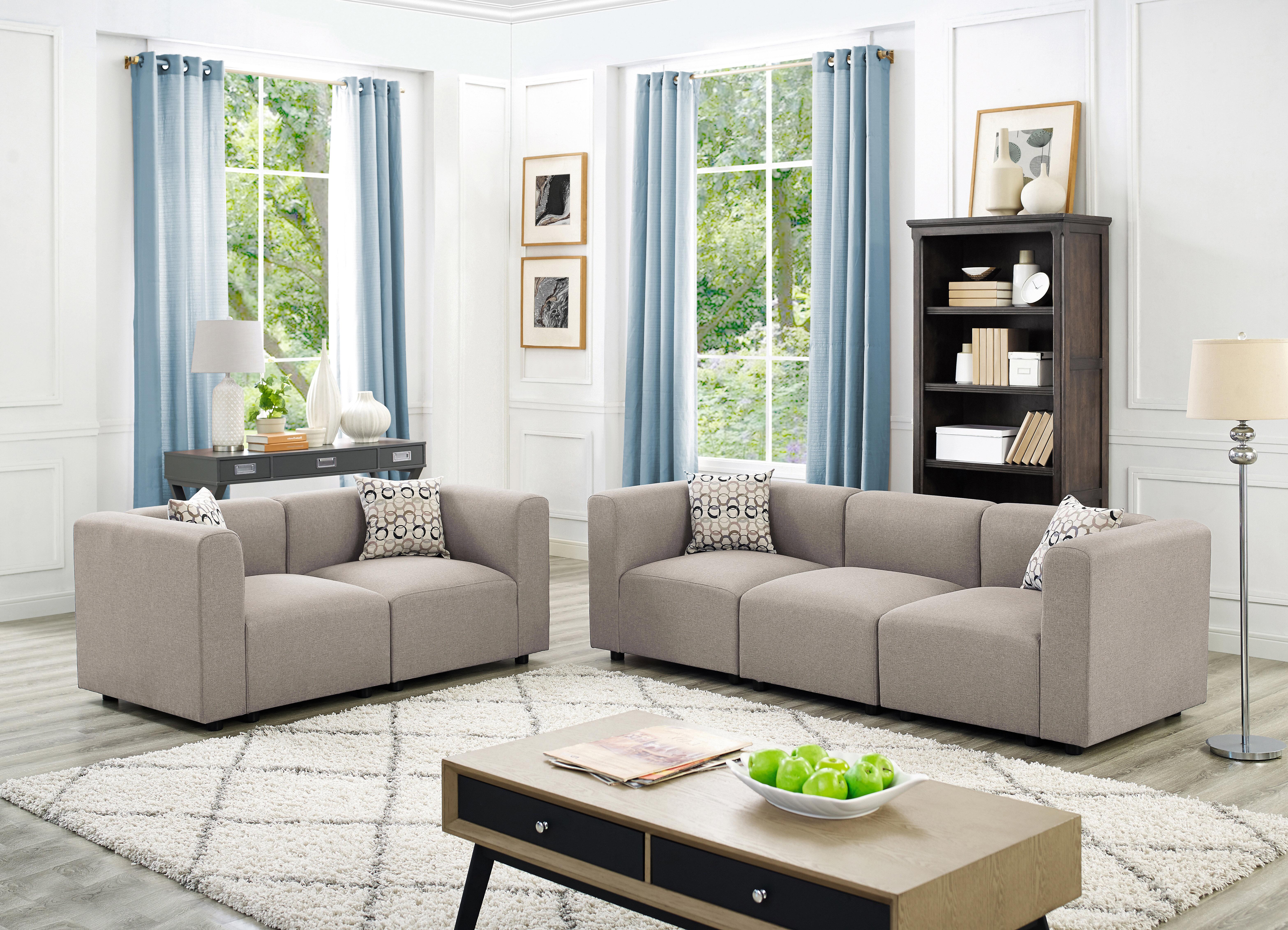 Karol Linen-Like 2 Piece Modular Living Room Sofa Set