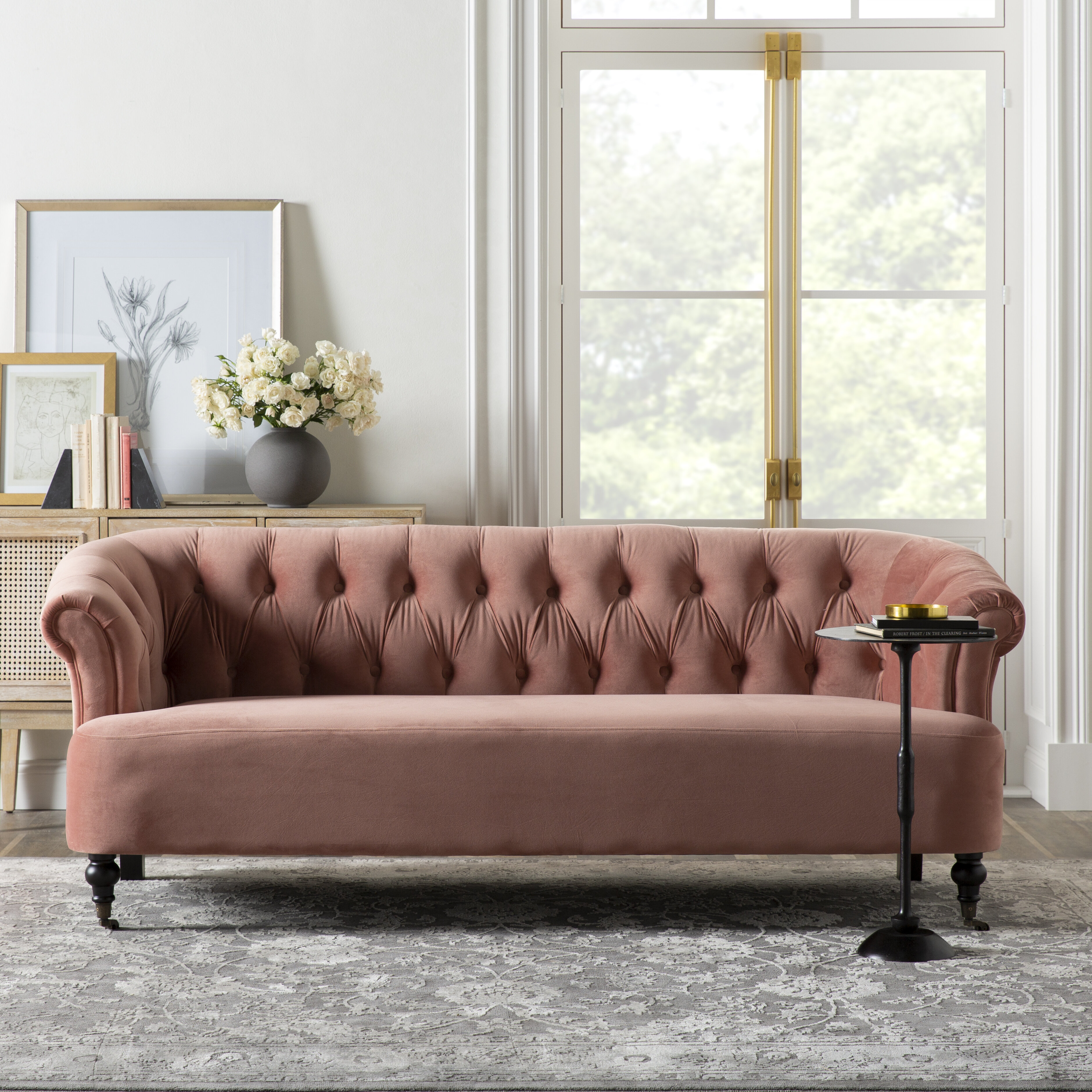 Kelly Clarkson Home 35 Wide Velvet Rolled Arm Sofa Bed Reviews Wayfair