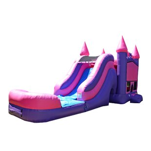 JumpOrange Princess Bricks Titan Inflatable Water Slide Combo Bounce House