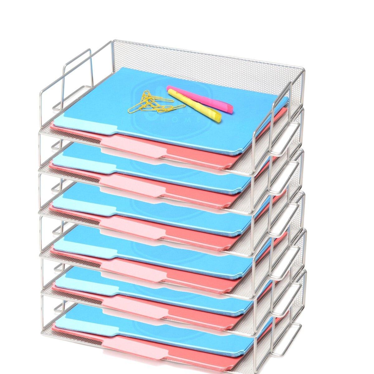 Rebrilliant Bevins Steel Mesh Stackable Letter Paper Holder Shelf ...