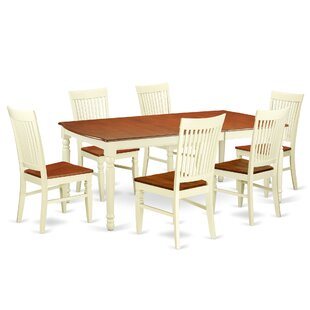 Pimentel 7 Piece Extendable Solid Wood Dining Set August Grove
