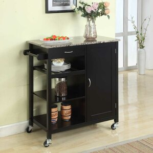 Roselle Kitchen Cart with Faux Marble Top by Red Barrel Studio