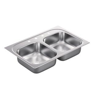 Moen 2200 Series Double Bowl Drop-In Kitchen Sink