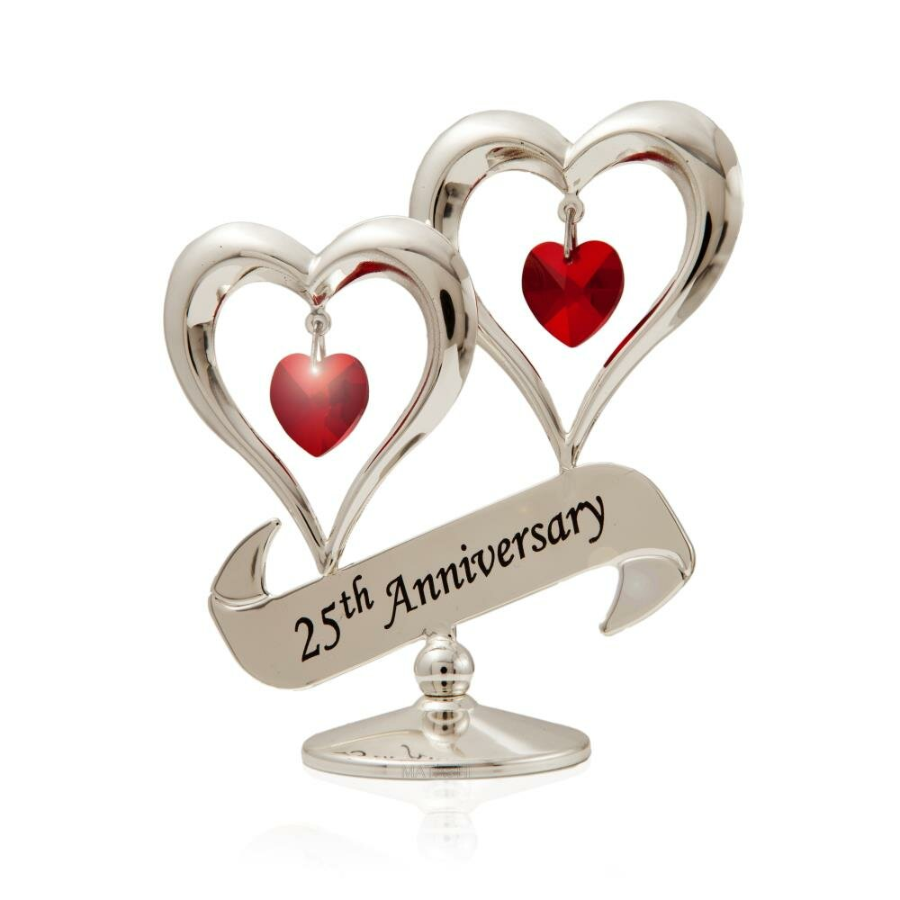 Matashicrystal 25th Anniversary Double Heart Table Top Hanging Figurine Ornament Wayfair