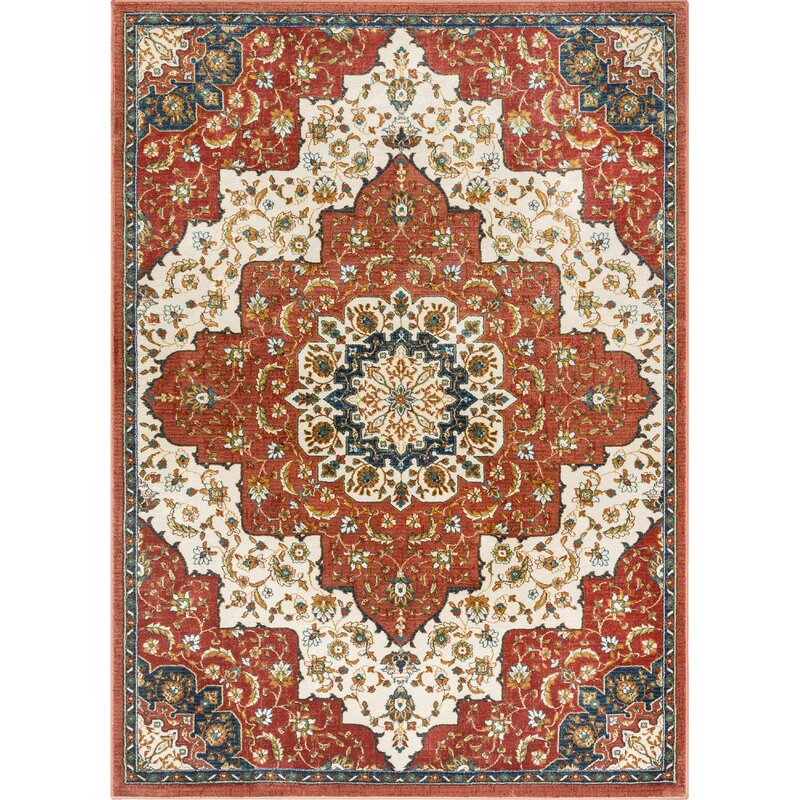 Persian Medallion Red Beige Area Rug