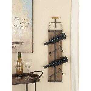 Wood/Metal 4 Bottle Wall Mounted Wine Rack