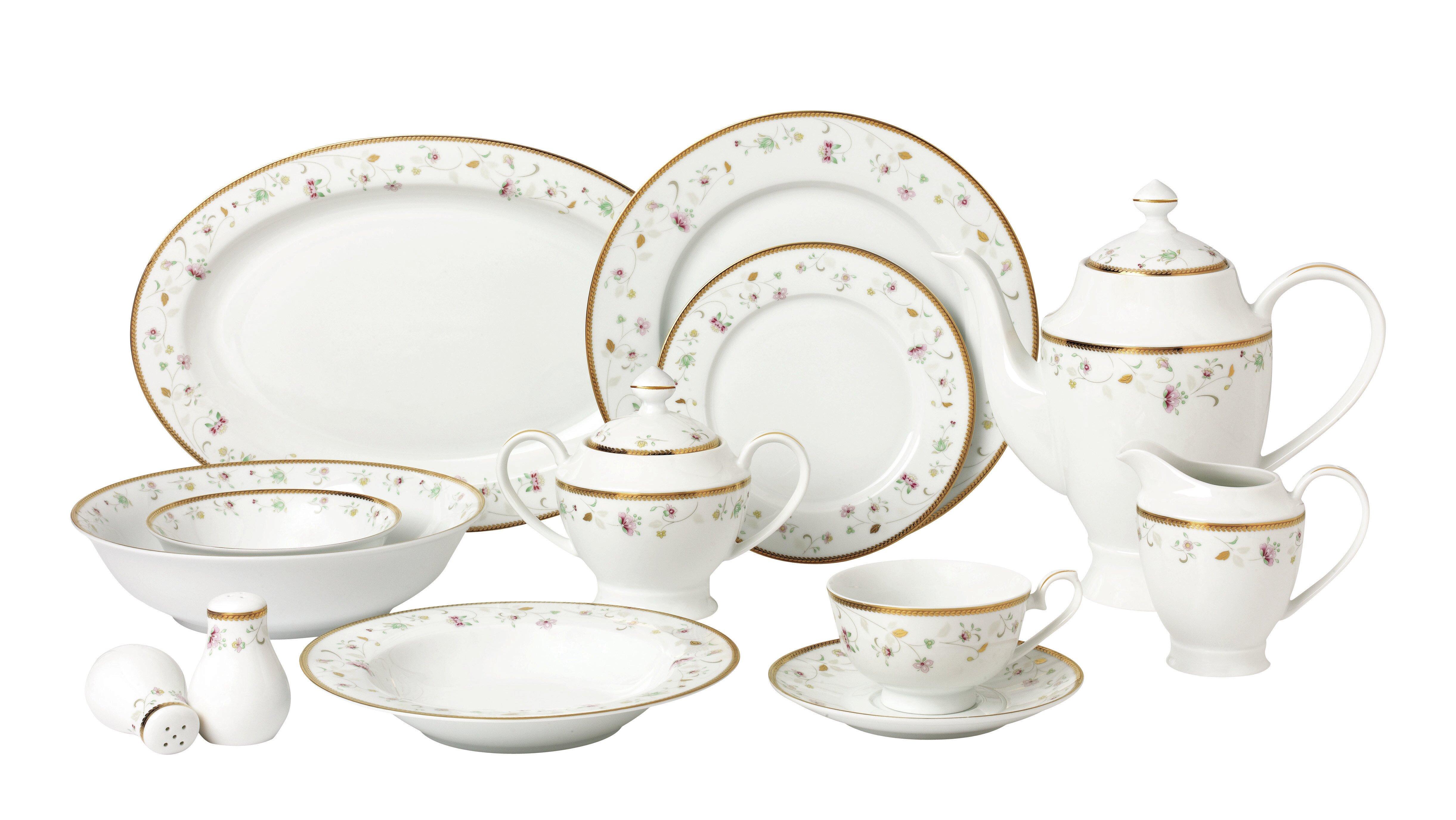 Lorren Home Trends La Luna Bone China 57 Piece Dinnerware Set ...