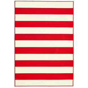 Affordable Deverick Stripe Summer Red/White Indoor/Outdoor Area Rug By Ebern Designs
