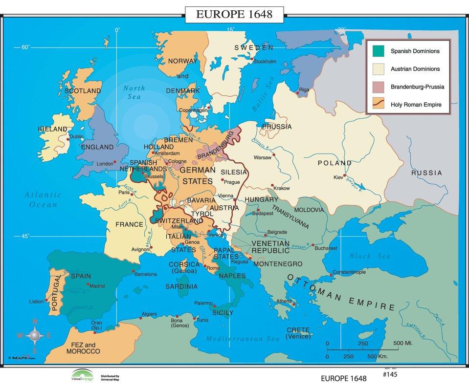 Universal Map World History Wall Maps Europe Wayfair - Amsterdam map in europe
